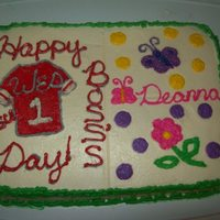 Boss's Day   I have two supervisors so I split the cake and decorated each side of the cake to what they like