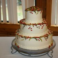 Fall Wedding Cake buttercream flowers in fall colors