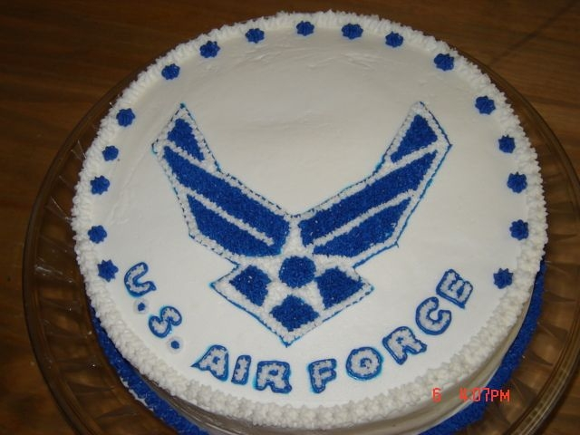 Us Air Force I made this cake for a friend that retired from the Air Force. 12 inch round triple chocolate with buttercream icing. MC