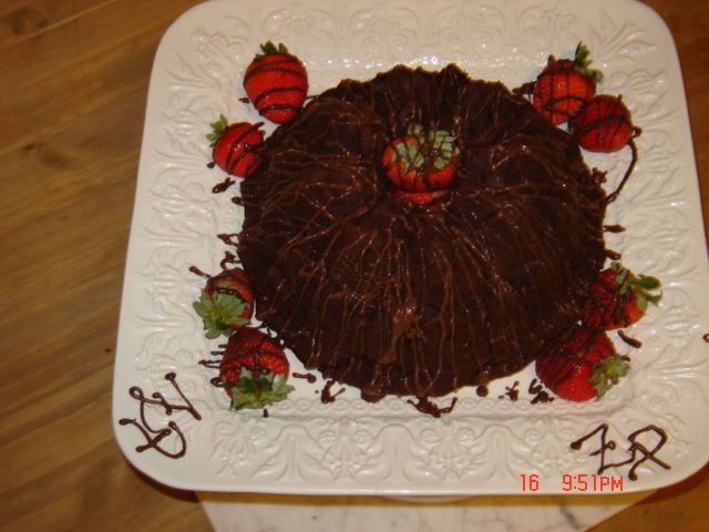 Billy Birthday This is a triple chocolate chocolate rum cake. Instead of using a glaze I used melted chocolate. The ZP on the corners are the intitals of...