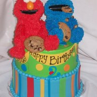 Elmo And Cookie Monster both Elmo and Cookie were made out of rk treats