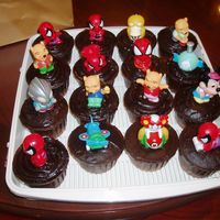 Cartoon Figurine Cupcakes Chocolate cupcakes for my nephew's 1st birthday