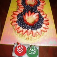 Berry Chiffon Cake 2 orange chiffon cakes shaped into a number 8, topped with berries.