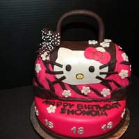 Hello Kitty Purse Cake Chocolate purse with chocolate mousse filling on top of a vanilla cake. I'm still struggling with fondant - the bottom of the purse is...