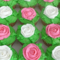 Rose Cupcakes Chocolate and Vanilla Cupcakes with Buttercream frosting.