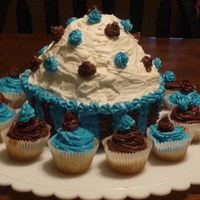 Giant Cupcake Made with giant cupcake pan. decorated with buttercream frosting.