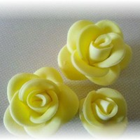 Yellow Gumpaste/fondant Roses First time trying to make gumpaste/fondant roses..Had fun trying this out.