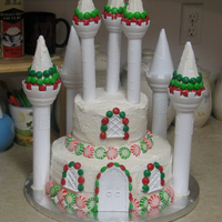 Winter Wonderland This winter castle cake was for a child's birthday, right before Christmas. The kids enjoyed all the candy on the cake!