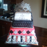 Masquerade Sweet 15 Cake This was a marble cake with chocolate fudge filling. The biggest cake I've done so far, still can not believe I did it!!!
