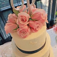 Lauren's Cake. White cake with raspberry buttercream.Buttercream with fondant butterflies embedded.