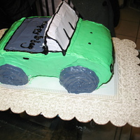 Car Cake Made cake at request of my 3 year old son for his b-day...1st time making 3D cake...four Chocolate cakes with chocolate filling...Carved...
