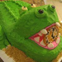 Peter Pan Croc   I carved this from a 12 x 8 and a loaf pan and needed every last scrap of cake! Mostly BC with a fondant clock and marshmallow teeth.