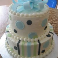 Black Blue And Green Baby Shower   I matched the colors of the invitation to this cake. BC cake with fondant accents.