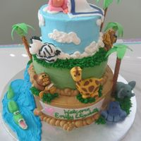 Jungle Baby Shower Inspired from a cake here on CC (thank you)! Animals are all fondant, trees are fondant and pretzel rods, rest is BC.
