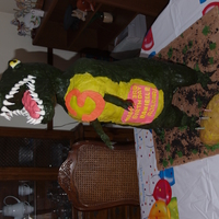 Danielle's 3Rd Birthday Party - T-Rex Cake  dinosaur cake - first cake with a armature - only my 2nd-3rd cake that would be more than just the average duncan hines with frosting type...
