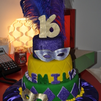 Sweet 16 Mardi Gras This was made for a friends daughters sweet 16. It was red velvet w butter cream for the first layer, Choc with fresh strawberry s and...