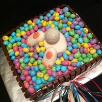 Hoppy Bunny   kit kat- M&M's-white chocolate cake-1 cake pop and fondant bunny parts!!! this was a hit!!!!