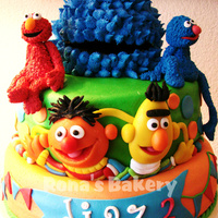 Sesamestreet Birthday Cake For Diaz This is the cake I made for my little nephews 2nd birthday. Cookiesmonster and Elmo are his best friends.