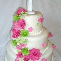 Hot Pink And Lime Green Cascading Flowers Wedding Cake It was sooo much fun to make this cake. Had my creative juices flowing all over. The bride gave me quite some freedom so I used the wedding...
