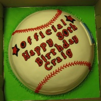 Baseball Cake Two tier double chocolate fudge cake with fudge cream filling.
