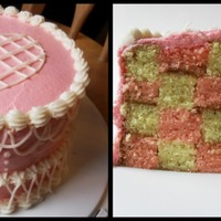 Valentine's Day Cake Pink and white checkerboard cake on the inside, old-school piping on the outside