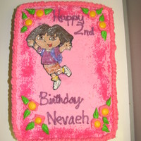 Dora The Explorer Birthday Cake Dora was made with royal icing transfer (first attempt at making/using royal icing) Didn't turn out the way i wanted but i didnt have...