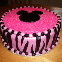 Minnie Mouse Birthday Minnie Mouse Zebra print cake for sweet little Gracies first Birthday