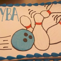 Bowling League I found the bowling ball and pin design from someone else on here. This is a full sheet white and chocolate cake. Its iced in whippy and...
