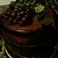 Wine Barrel Cake   Wine barrel fondant birthday cake with fondant grapes