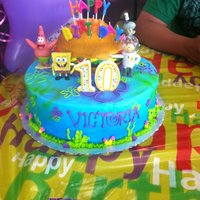 Spongebob/krabby Patty Birthday Cake The cake got a lil smashed and birthday mom inserted her own candle before I cud take a picture of the final product :( Additional picture...