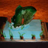 Fish Groom's Cake Dark chocolate cake w/choc ganache covered in BC. Fish is RKT covered w/fondant.