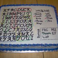 Word Search This was done as a going away cake for a few people who were leaving our office around the same time.