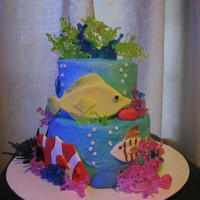 Aquarium Cake An aquarium cake I made using isomalt for the coral.