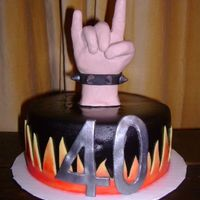 "Rock On! My rendition of Duff's Fist of Rock cake. Made this for my brother-in-law's 40th. It is a 6"" cake for the top of a cupcake..."