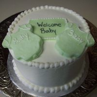 "Little Boy Mini Cake 6"" with fondant banner and molded fondant onsies"