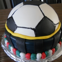 Forza Inter Milan!! This cake is MM fondant over carrot cake.It is a tribute to the italian soccer team INTER. My 1st attempt to making this kind of cake.