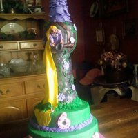 Tangled Inspired Rapunzel my friend's daughter's 6th bday cake.She insisted on the skillet being on the cake.