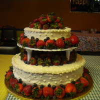 Birthday Cake   Used fresh strawberries and blueberries