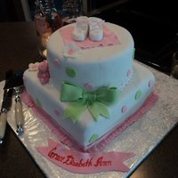 Pink Green And White Baby Shower Cake Baby Girl Shower cake
