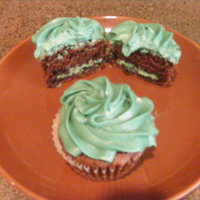 Chocolate Oreo Suprpise Cupcake With Mint Buttercream