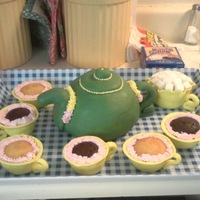 Tea Set This is a tea pot cake, tea cup cupcakes, and a sugar bowl cupcake. I used a large muffin pan for the sugar bowl cupcake and added sugar...