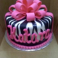 Zebra Bow Birthday Cake
