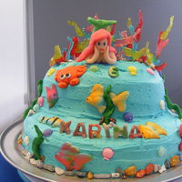 Little Mermaid Cake Little Mermaid Cake for6yr old KarinaWhite and Chocolate Cake w/ ButtercreamChocolate Rocks, Sugar Fish/Crabs/Shells,Jolly Rancher Coral