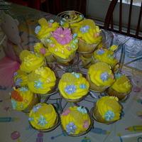 Baby Shower Cupcakes   Margarita cupcakes with lemon buttercream frosting. Decorated with lemon gummies and candy baby soothers as well as royal icing flowers.