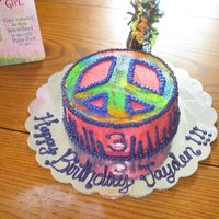 Tie Dye Peace Sign Cake Tie Dye Peace Sign Cake, also tie dyed on the inside.