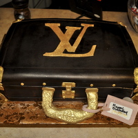 Lv Luggage Cake Did this for a friend whom love LV (go figure) Covered in Fondant and airbrushed Brown and Copper. Accents hand painted.