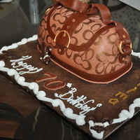 First Purse Cake I can truly appreciate those of you who do this so well...LOL Fondant w/gumpaste accents
