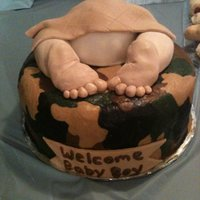 Camo Baby Rump Baby Shower Cake Camo Buttercream using the Viva paper towel method. Inside of cake is camo too!