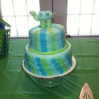 Blue/green Turtle Baby Shower Cake