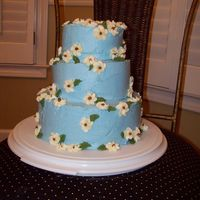 Mini Stacked Cake 8 inch, 6 inch, and 4 inch cakes stacked with blue buttercream with white flowers.
